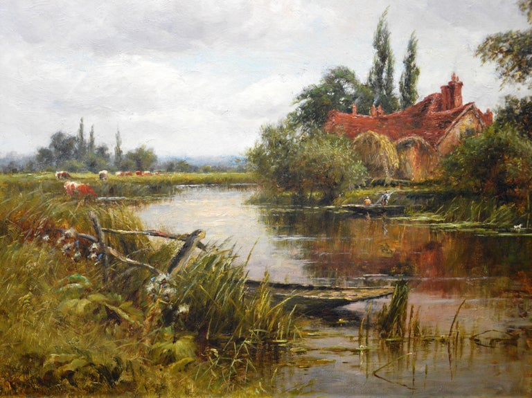 On the Thames at Goring - 19th Century Victorian Landscape Oil Painting For Sale 2