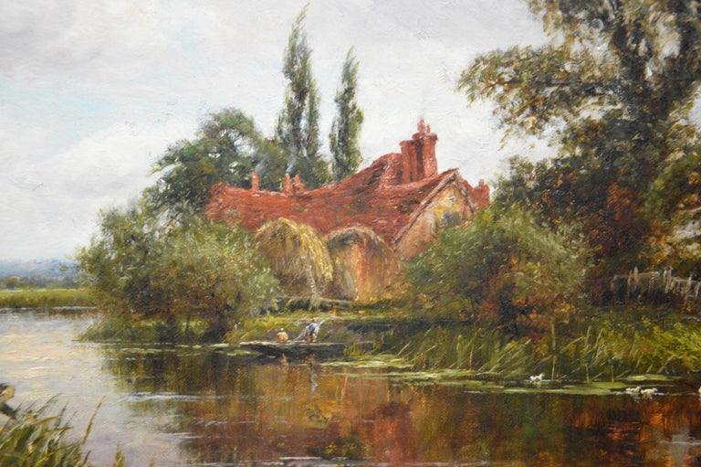 On the Thames at Goring - 19th Century Victorian Landscape Oil Painting For Sale 3