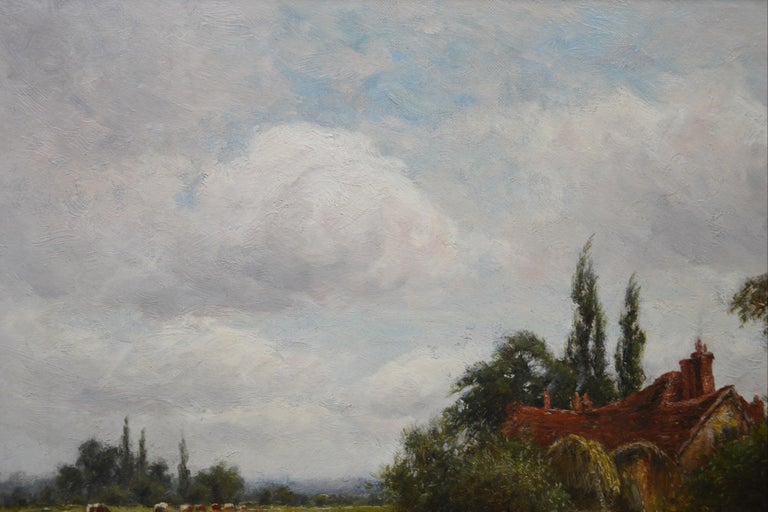On the Thames at Goring - 19th Century Victorian Landscape Oil Painting For Sale 5