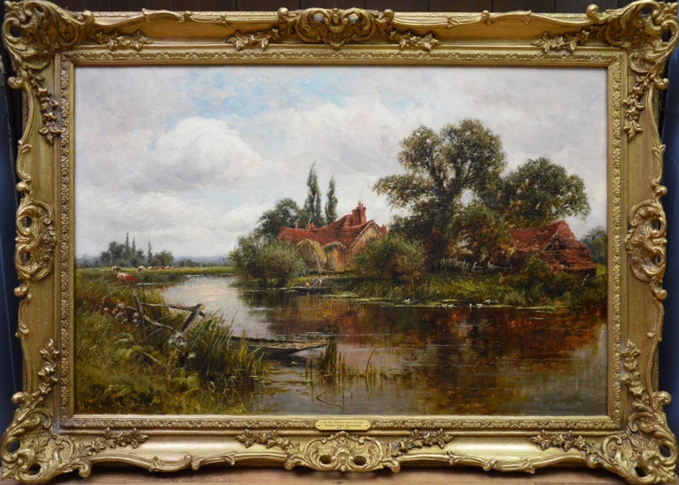Henry John Kinnaird Landscape Painting - On the Thames at Goring - 19th Century Victorian Landscape Oil Painting