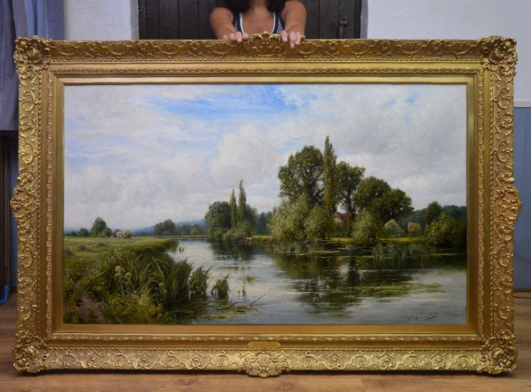 On the Thames near Mapledurham - 19th Century English Landscape Oil Painting - Brown Landscape Painting by Henry John Kinnaird