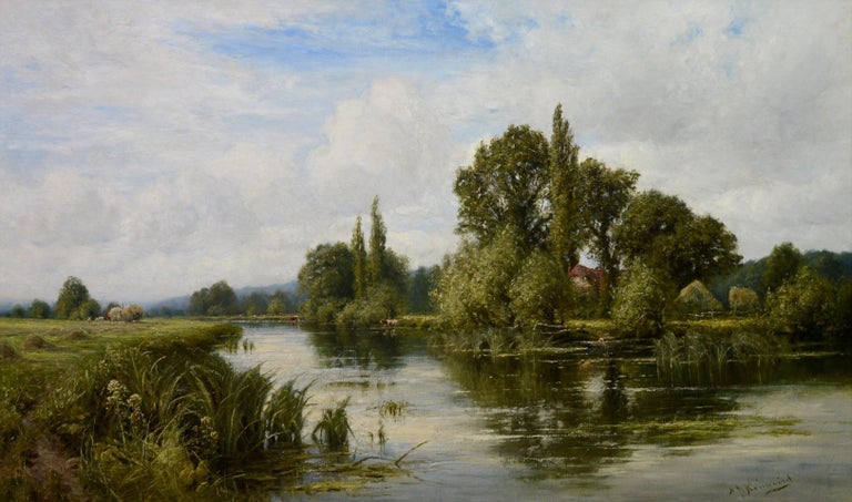 This is a very large fine 19th century oil on canvas depicting an extensive summer landscape featuring a single figure in a punt, a hay cart, and numerous cattle 'On the Thames near Mapledurham' by the eminent Royal Academy artist Henry John