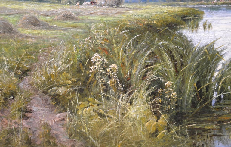 On the Thames near Mapledurham - 19th Century English Landscape Oil Painting 5