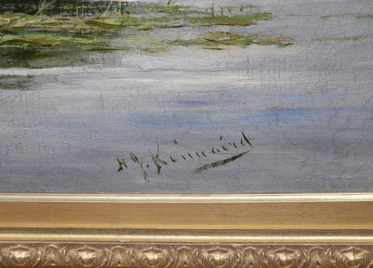 On the Thames near Mapledurham - 19th Century English Landscape Oil Painting 6