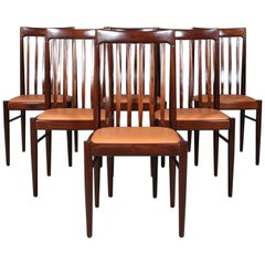 Henry Klein Six Dining Chairs, Mahogany and Leather Upholstery, 1960s Bramin