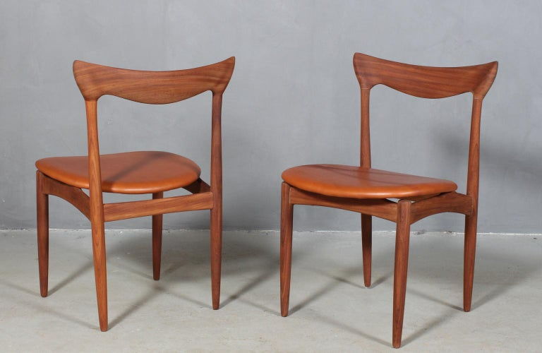 Scandinavian Modern Henry Klein Six Dining Chairs, Teak and Leather Upholstery, 1960s Bramin For Sale