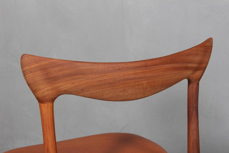 Danish Henry Klein Six Dining Chairs, Teak and Leather Upholstery, 1960s Bramin For Sale