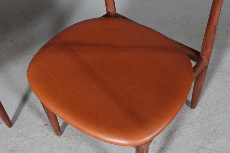 Mid-20th Century Henry Klein Six Dining Chairs, Teak and Leather Upholstery, 1960s Bramin For Sale