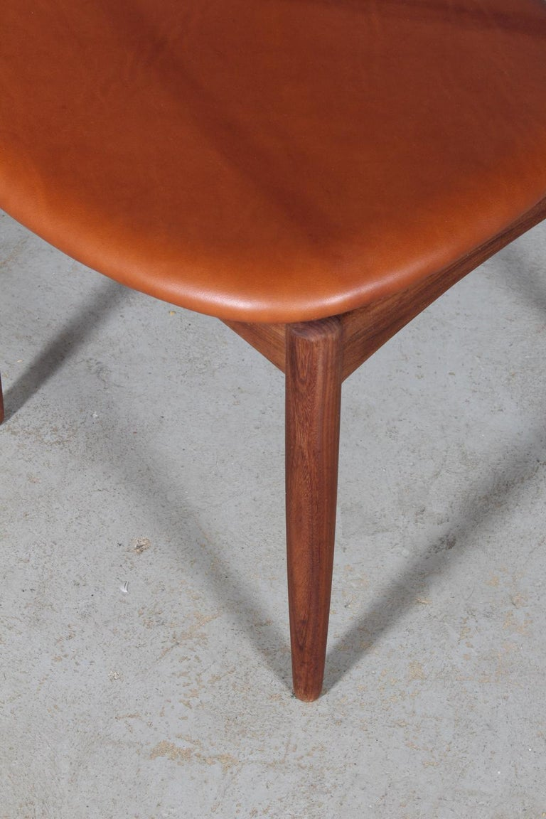 Henry Klein Six Dining Chairs, Teak and Leather Upholstery, 1960s Bramin For Sale 1