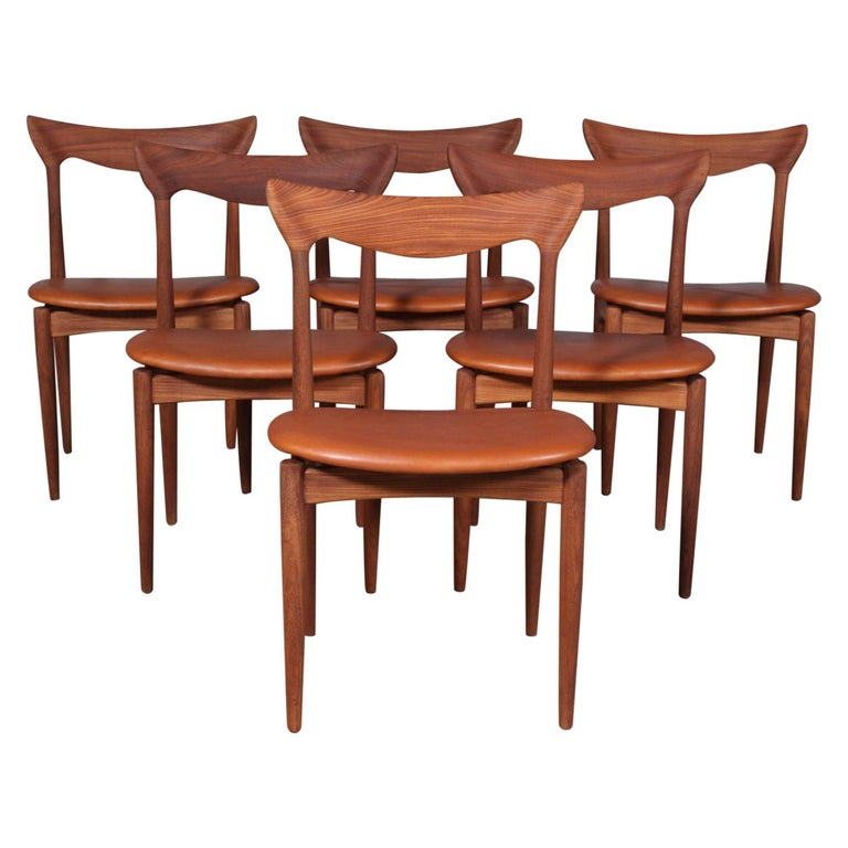 Henry Klein Six Dining Chairs, Teak and Leather Upholstery, 1960s Bramin For Sale