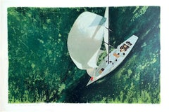 CONSTELLATION BELOW Signed Lithograph, Sailing, Cutter (boat), Nautical Art