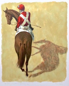 RED JOCKEY BELOW Signed Lithograph, Jockey Silks, Horse Racing