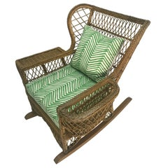 Henry Link Rattan Rocker Chair Magazine with China Seas Cushion