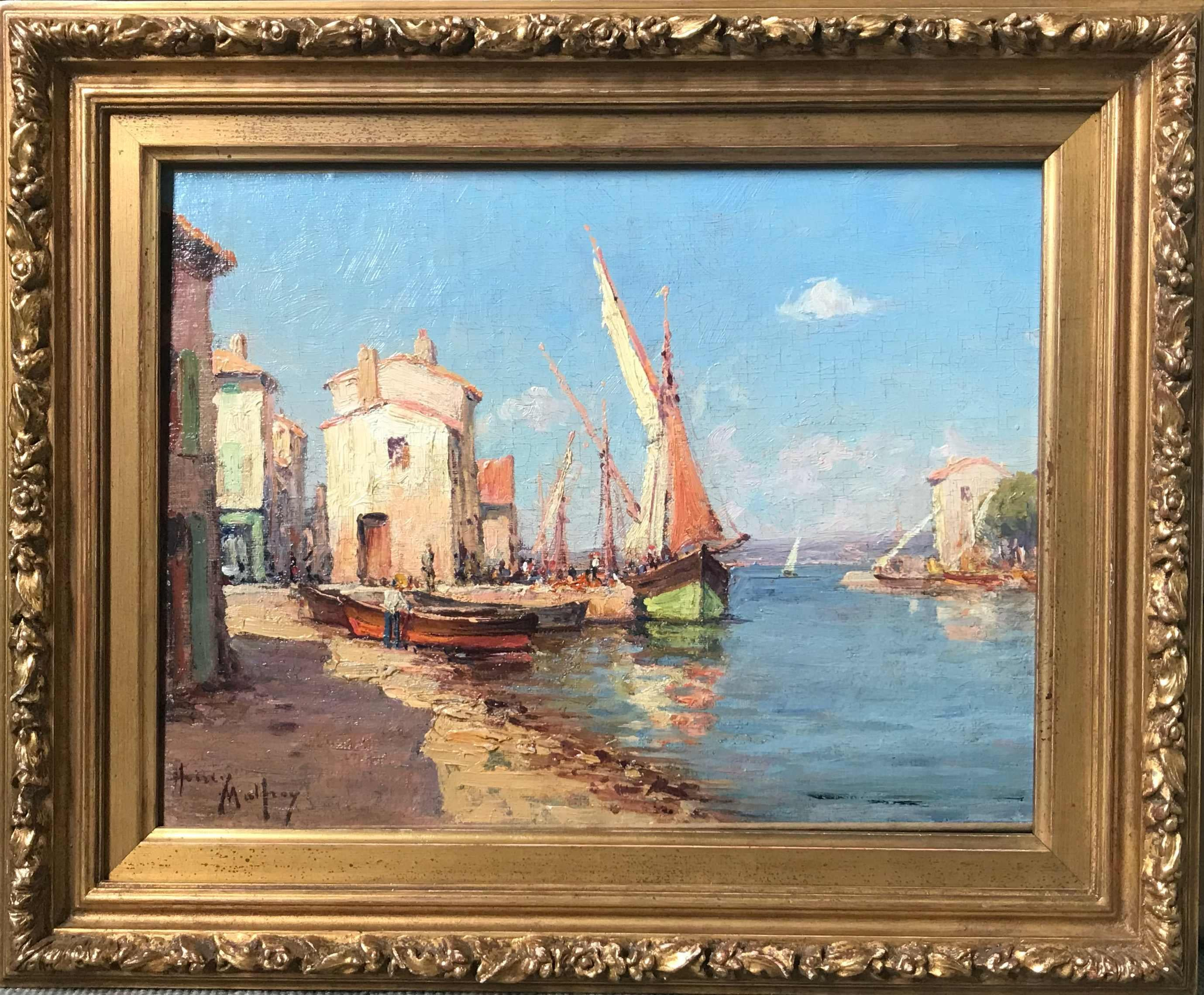 """Impressionist Henry Malfroy, """"Boats at a Mediterranean Port"""""""