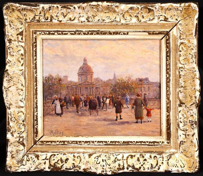 Le Pont des Arts - Paris - Post Impressionist Oil, Cityscape by Henry Malfroy For Sale 1