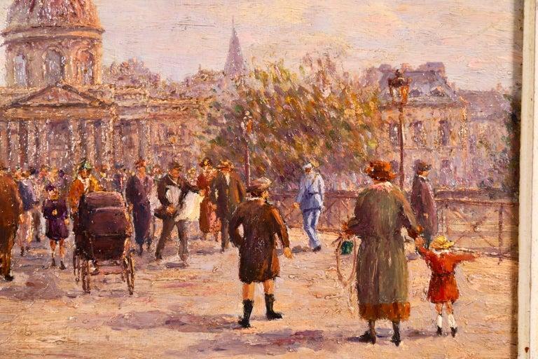 Le Pont des Arts - Paris - Post Impressionist Oil, Cityscape by Henry Malfroy For Sale 2
