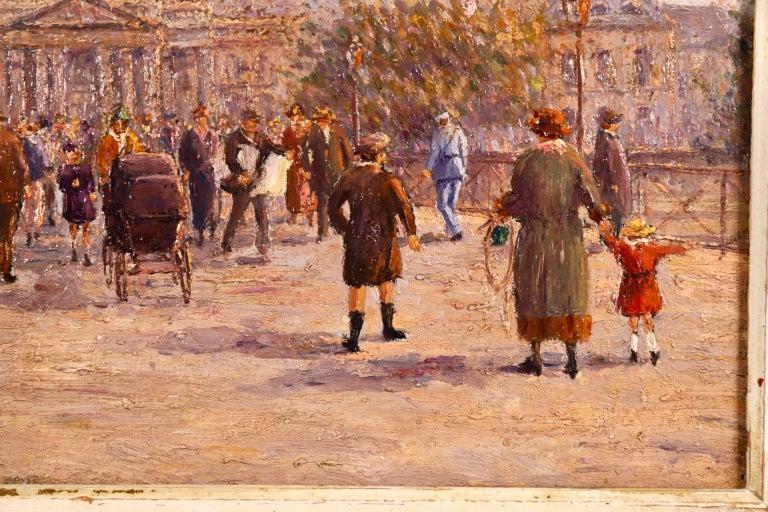 Le Pont des Arts - Paris - Post Impressionist Oil, Cityscape by Henry Malfroy For Sale 3