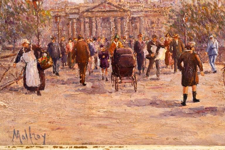 Le Pont des Arts - Paris - Post Impressionist Oil, Cityscape by Henry Malfroy For Sale 4