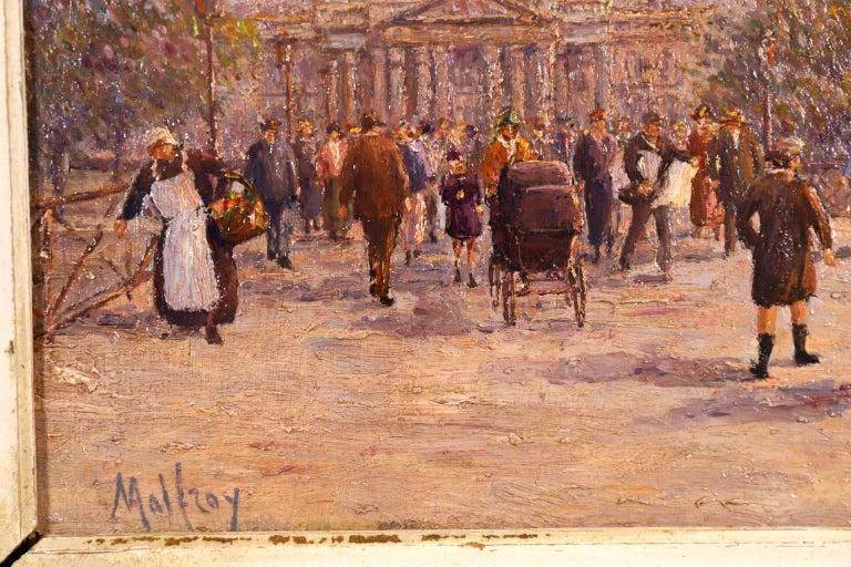 Le Pont des Arts - Paris - Post Impressionist Oil, Cityscape by Henry Malfroy For Sale 5