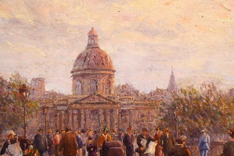 Le Pont des Arts - Paris - Post Impressionist Oil, Cityscape by Henry Malfroy For Sale 6