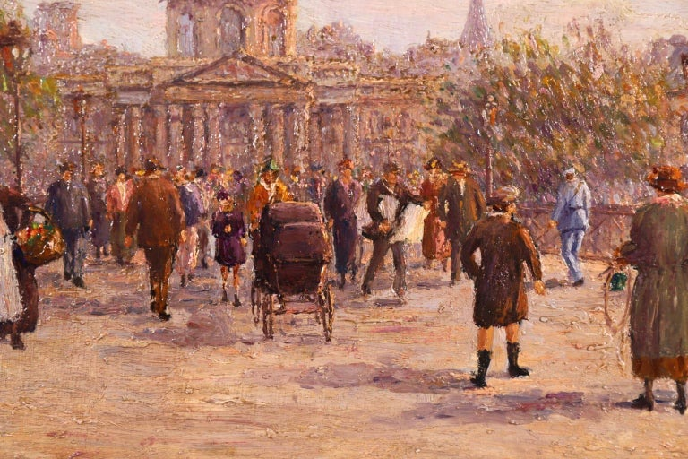 Le Pont des Arts - Paris - Post Impressionist Oil, Cityscape by Henry Malfroy For Sale 7