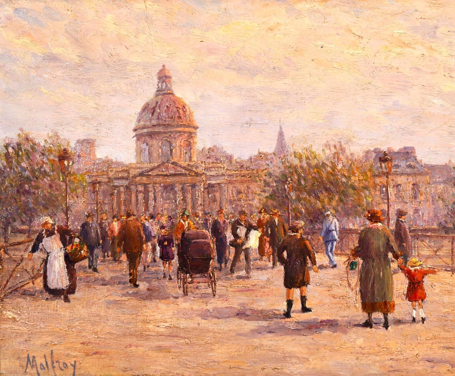 Le Pont des Arts - Paris - Post Impressionist Oil, Cityscape by Henry Malfroy