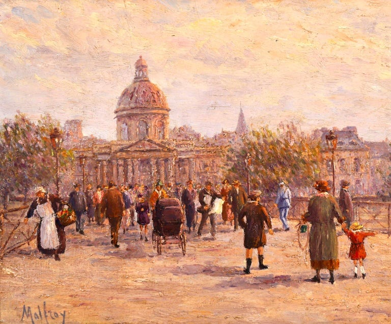 A beautiful oil on canvas by French Post Impressionist painter Henry Malfroy. The piece depicts a bustling city scene of many people on the Pont Des Arts bridge over the Seine river in Paris. A mother holds her young child's hand while another