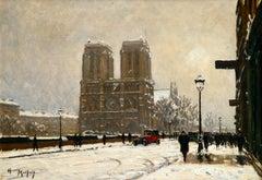 Notre Dame sur la neige - Paris - Figures in Winter Landscape by Henry Malfroy