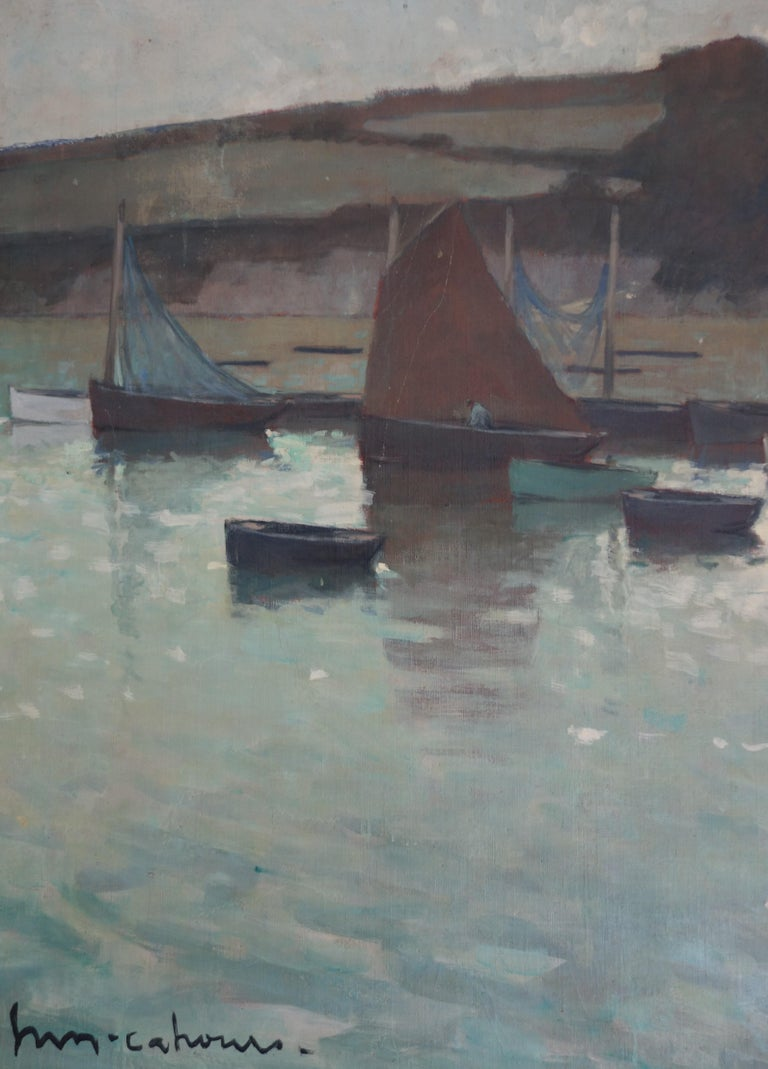 Boats in the harbor, France, Impressionism, blue, gray, blue, Sailboat ,Sea - Gray Landscape Painting by Henry Maurice CAHOURS