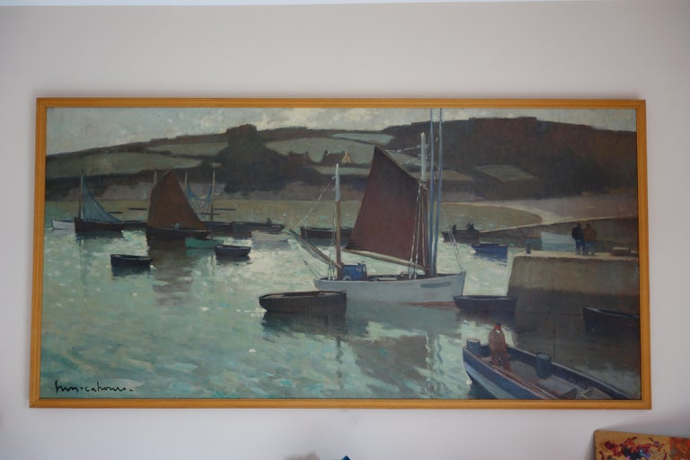 Boats in the harbor, France, Impressionism, blue, gray, blue, Sailboat ,Sea For Sale 1