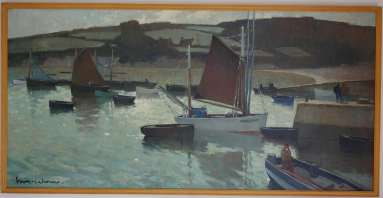 Henry Maurice CAHOURS Landscape Painting - Boats in the harbor, France, Impressionism, blue, gray, blue, Sailboat ,Sea