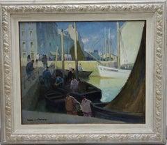 """Boat,Port,France """"L'arrivée au port"""" Douarnenez"""" Oil cm.73 x 60  1922"""