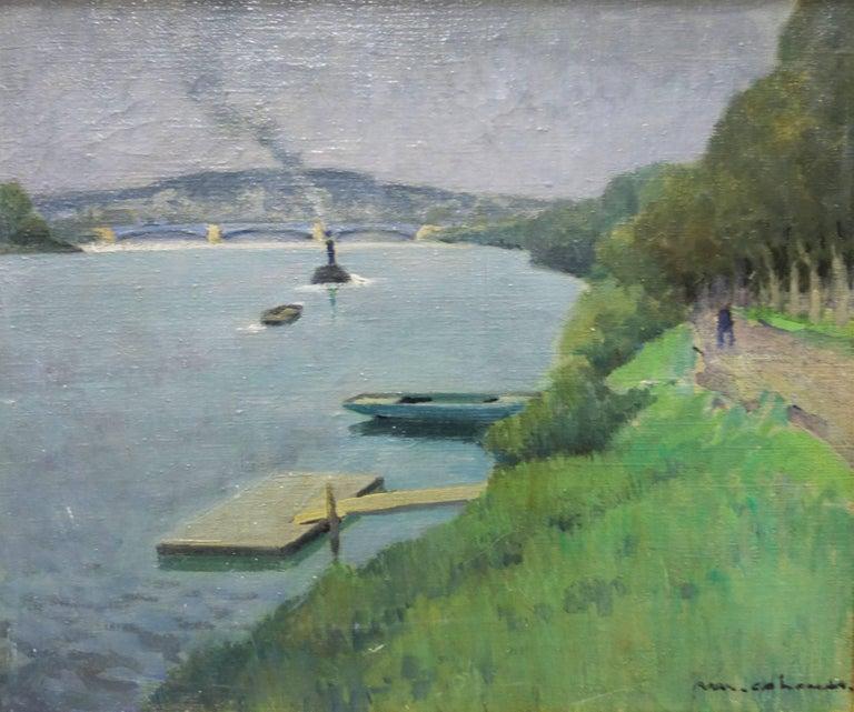 """Henry Maurice CAHOURS Landscape Painting - """"La seine à Puteaux"""" - Oil, cm. 55 x 46, 1930 ca"""