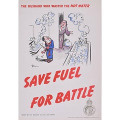 H. M. Bateman Save Fuel for Battle Original Vintage Poster WW2 Home Front Green