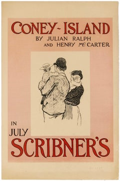 Original Antique Poster Coney Island In July Scribner's Magazine 1896 New York
