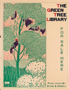 """The Green Tree Library"" Original Antique Book Publisher's Poster"