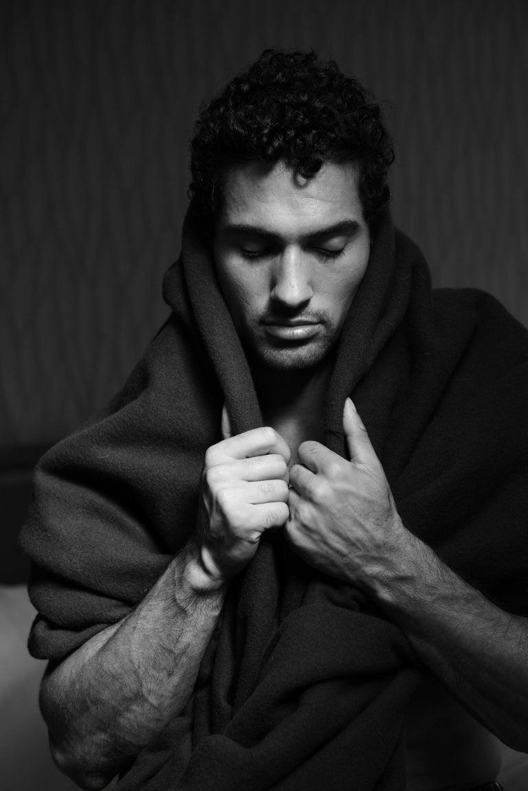 Beaux Arts Henry Merino Black King-Size Blanket with Silk Border by JG Switzer For Sale