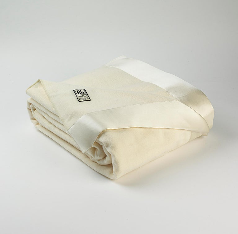 Hand-Crafted Henry Merino Black King-Size Blanket with Silk Border by JG Switzer For Sale