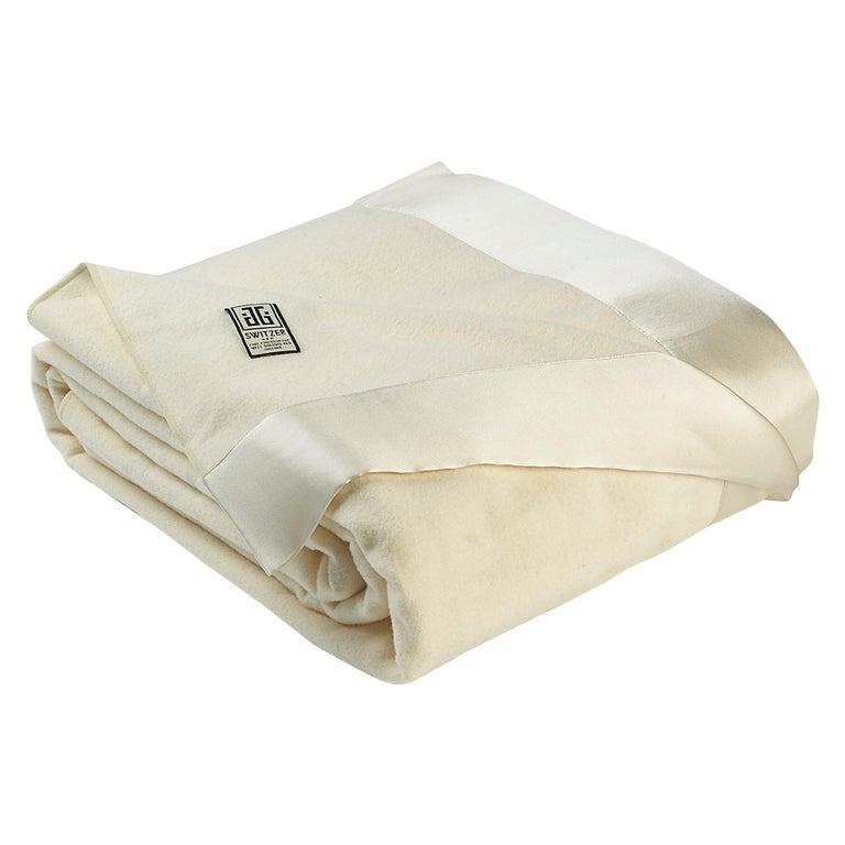 Henry Merino White King-Size Blanket with Silk Border by JG Switzer For Sale