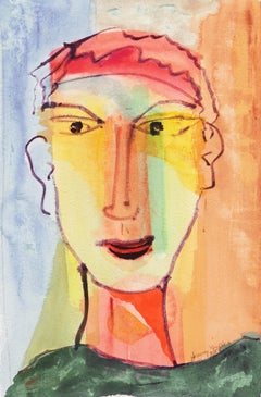 Self Portrait   (Modernism, Expressionism, orange, green, blue)