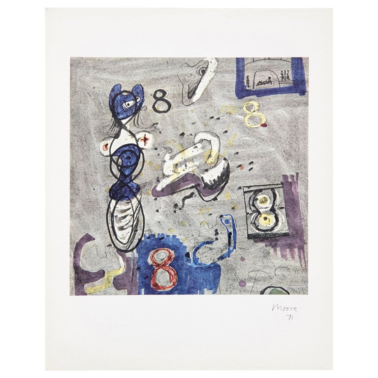 Henry Moore, Limited Edition Hand Signed Photolithography, 1971 For Sale