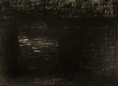 Bridge: abstract black drawing based on Auden poetry and Yorkshire landscape