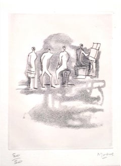 Concert - Original Etching by Henry Moore - 1967
