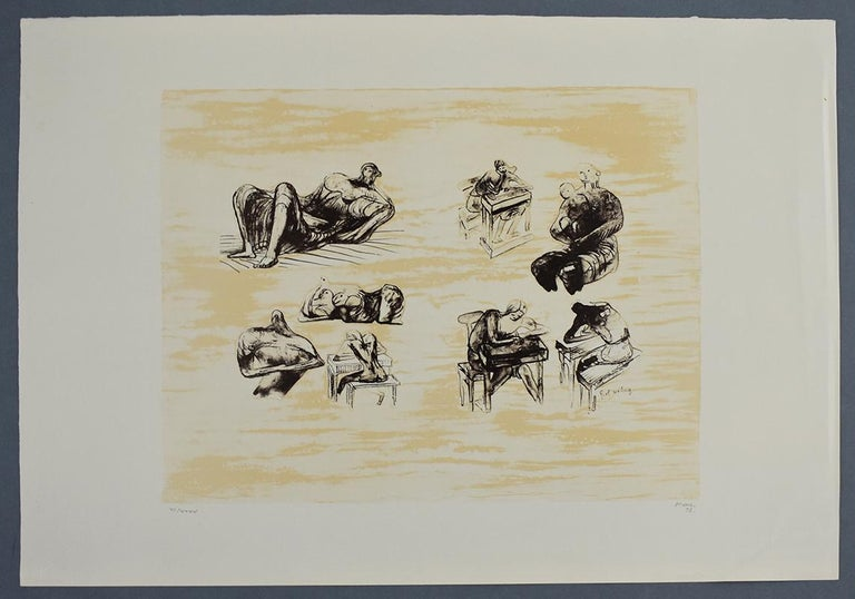 Eight Sculptural Ideas Girl Writing - British Figurative Abstract Art - Print by Henry Moore