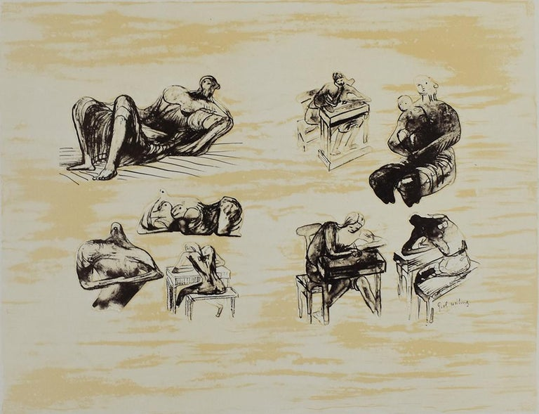 Henry Moore Figurative Print - Eight Sculptural Ideas Girl Writing - British Figurative Abstract Art