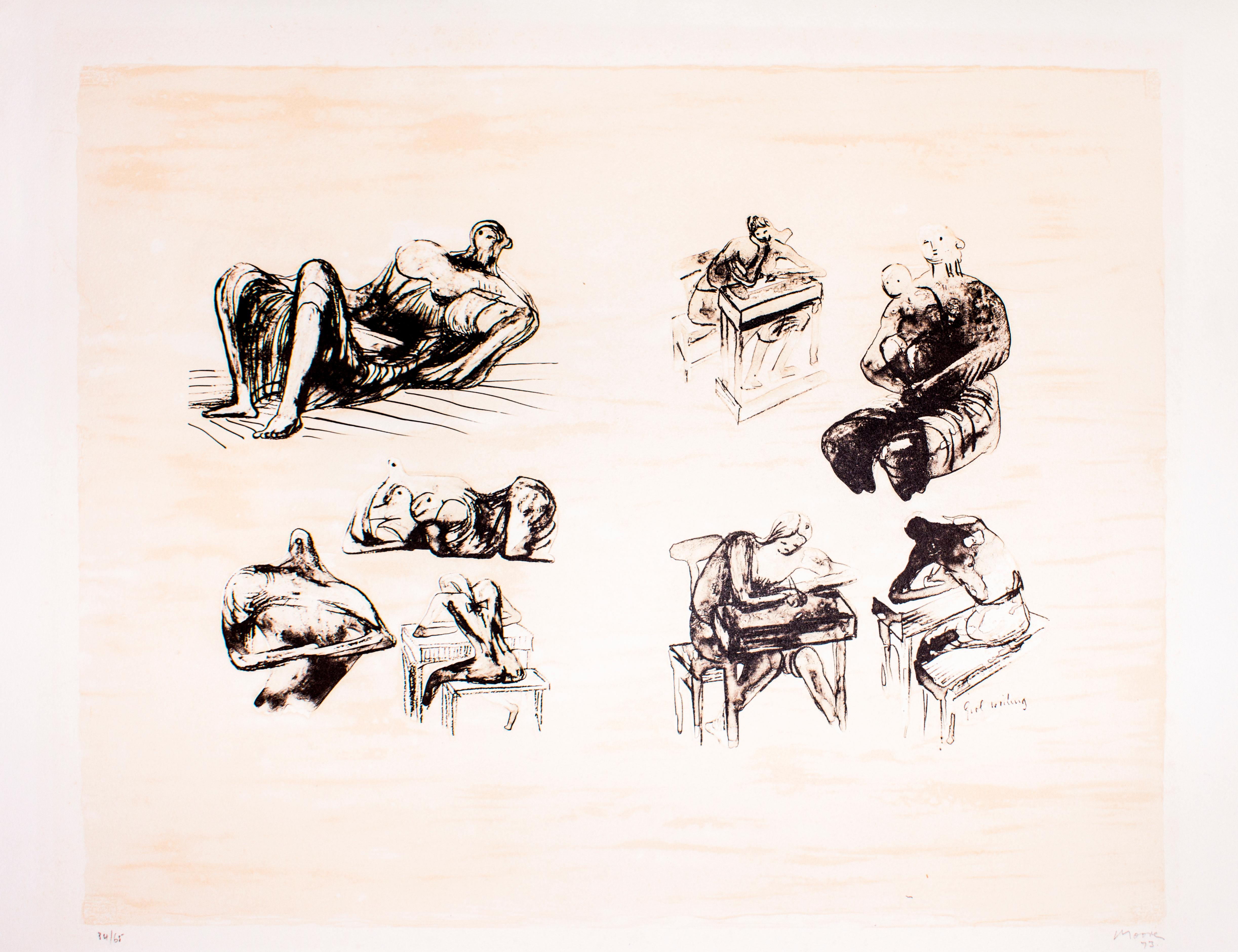 Eight Sculptural Ideas, Girl Writing - Original Lithograph by Henry Moore - 1973