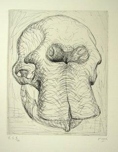 Elephant Skull - Original Etchings by Henry Moore - 1970