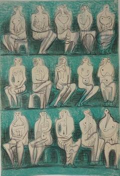 Fifteen Seated Nudes - Original lithograph (Mourlot, Berggruen)