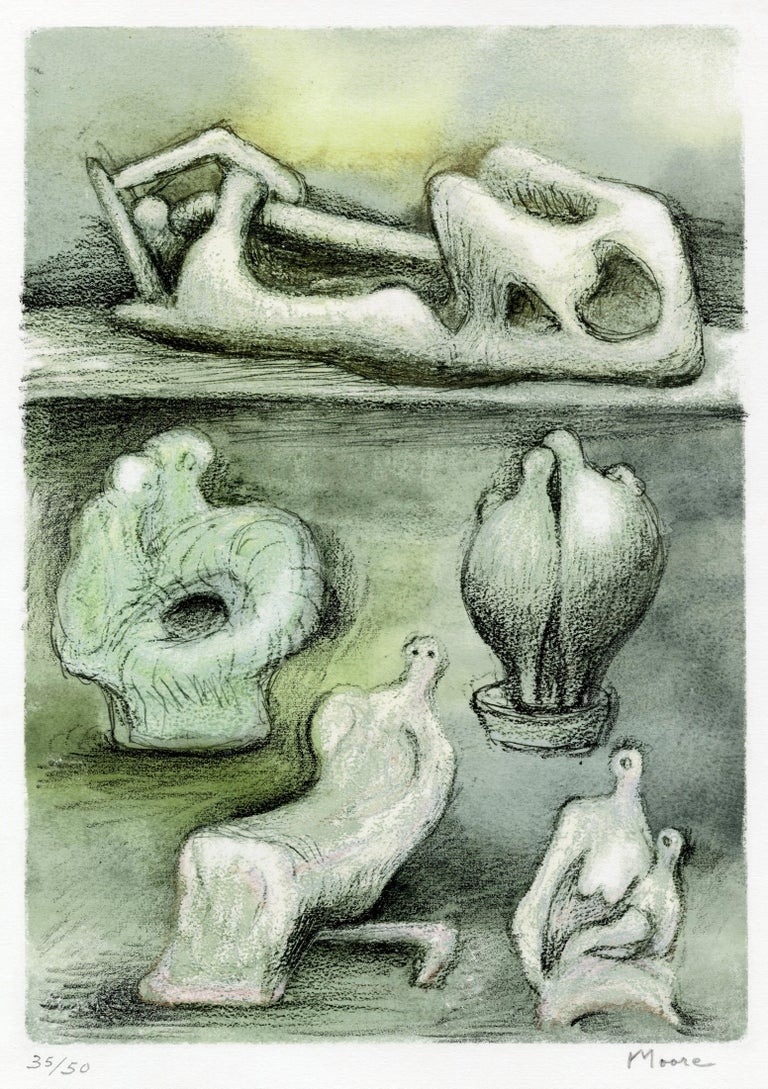 Henry Moore Abstract Print - Five Ideas for Sculpture