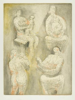 Four Mother and Child Studies - 20th Century, Print by Henry Moore